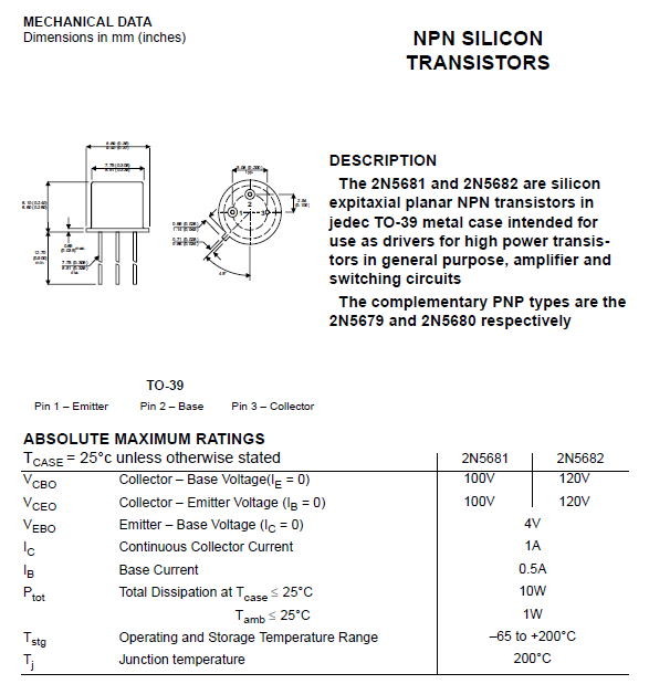ON//MOT 2N5680 TO-39 PNP//NPN HIGH VOLTAGE SILICON